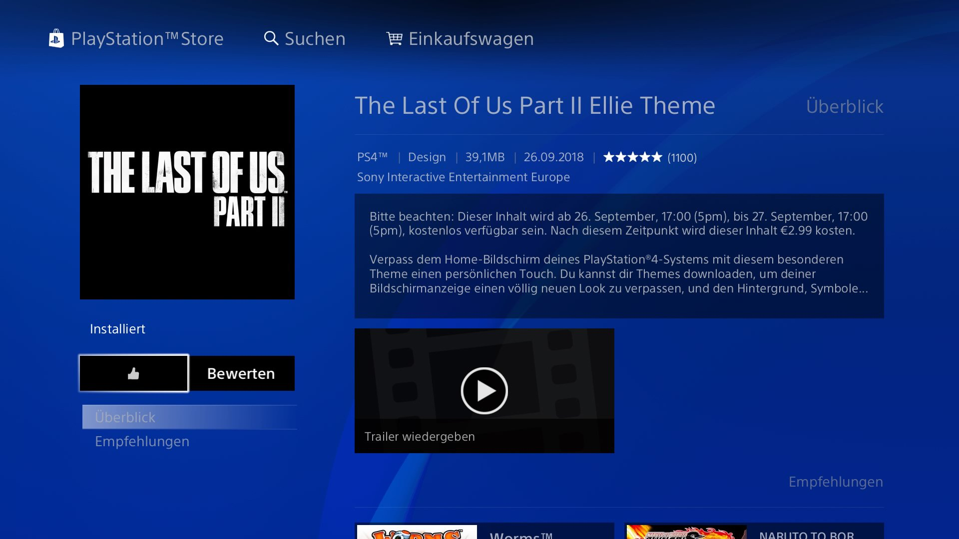 PS4 Store Screenshot - The Last of Us Part II - Ellie Theme