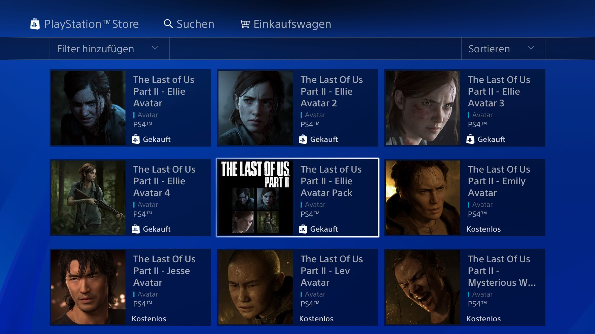 PS4 Store - The Last of Us Part II - Avatare