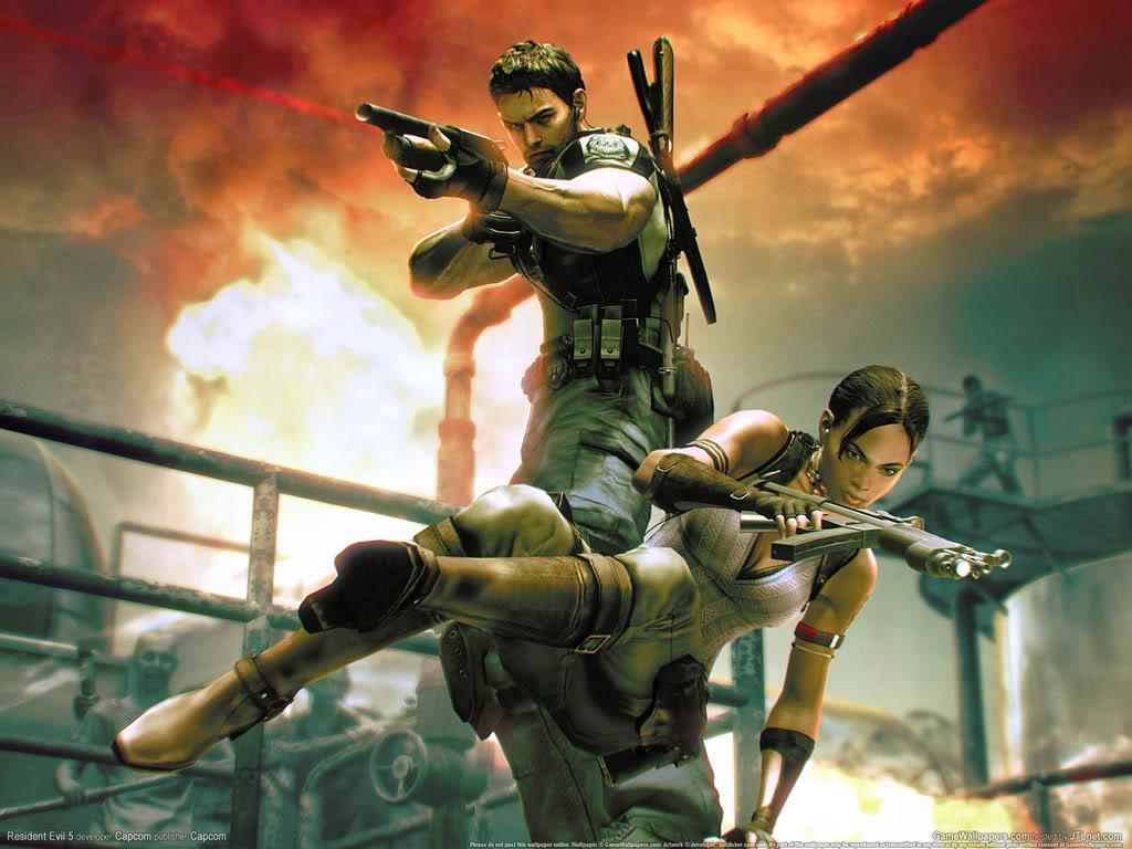 Resident Evil - Chris+Sheva action wallpaper