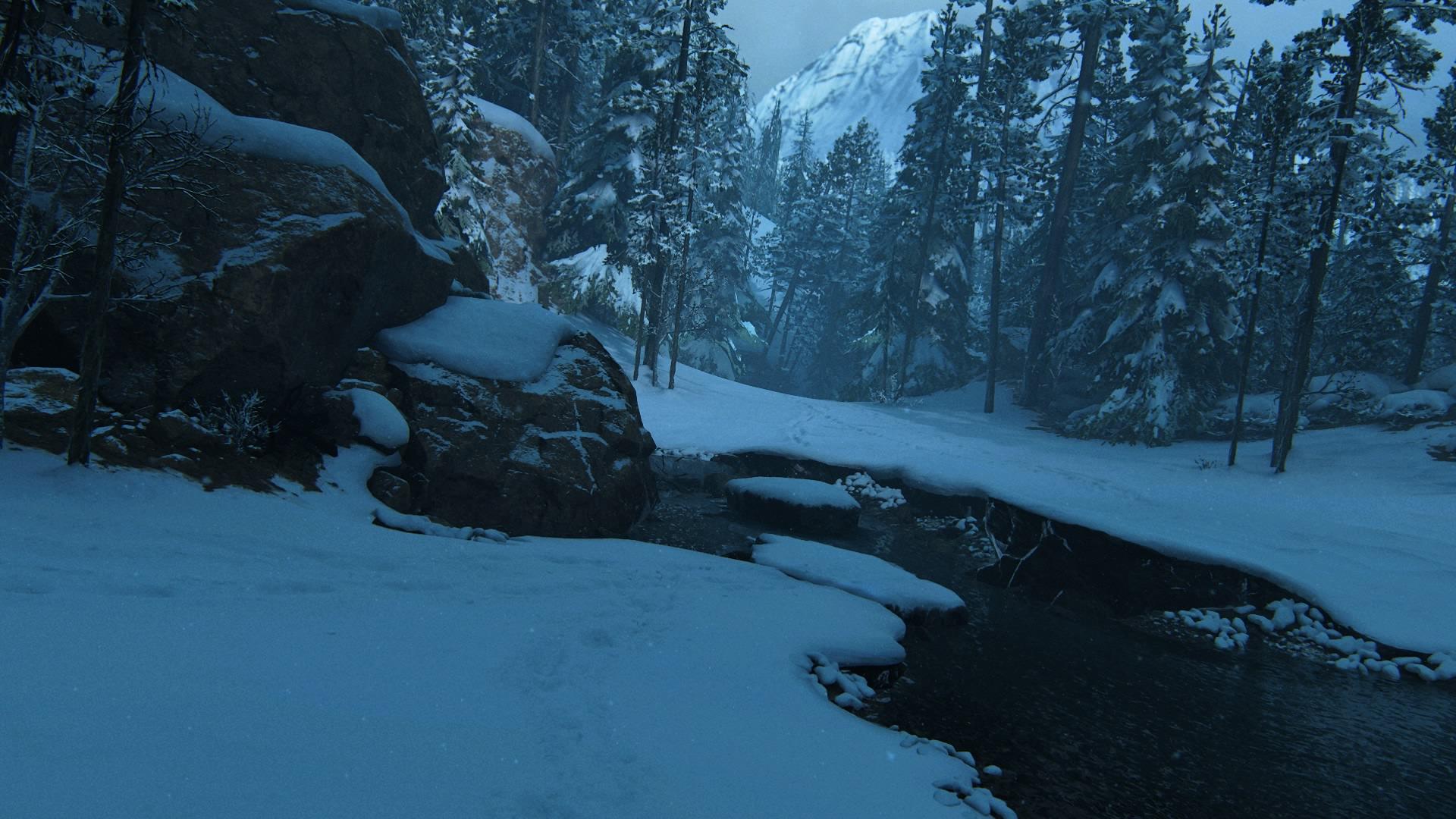 An Malerischen Verschneiten Waldbächen ...