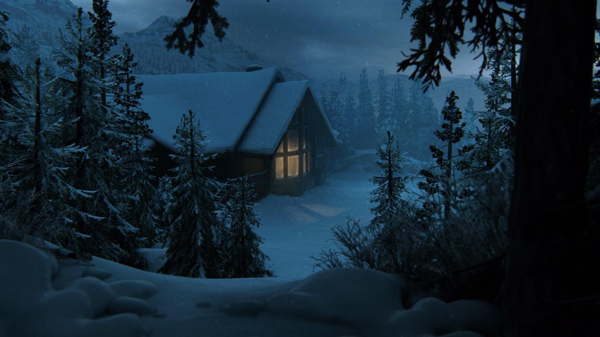Eine Einsame Winterlodge In Den Bergen Um Jackson City ...
