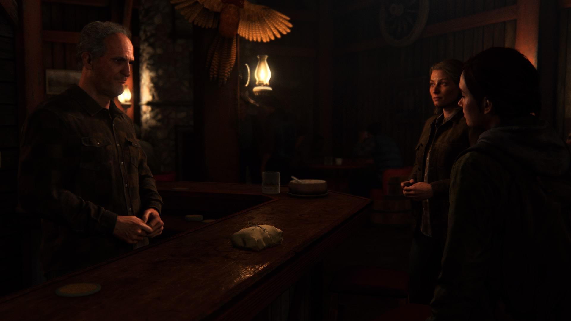 So Wartet Hier Die Stadtverwalterin Maria Darauf Um Einen Streit Zwischen Dem Barkeeper Seth Und Ellie Zu Schlichten.